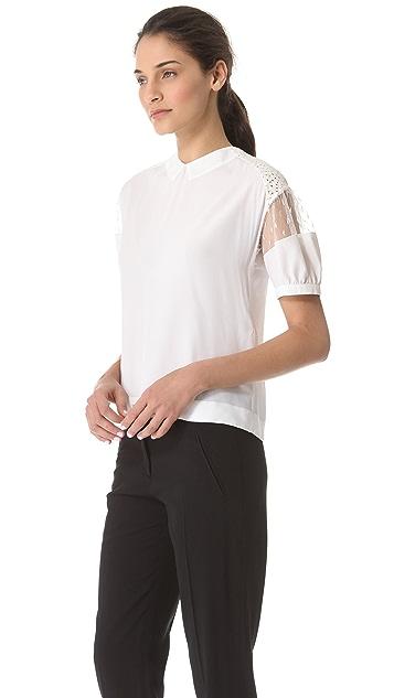 No. 21 Lace Shoulder Blouse with Tie