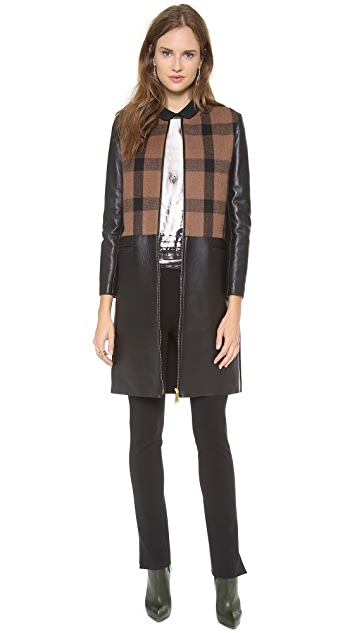 No. 21 Checkered Coat with Leather Accents