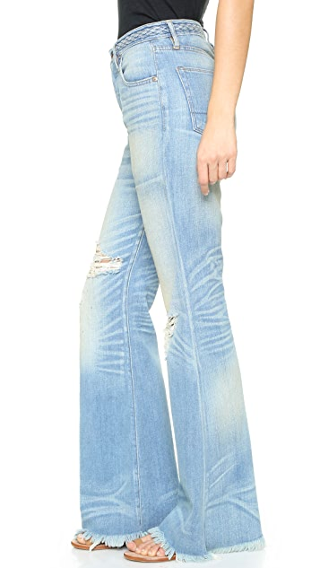 NSF High Waist Braided Belt Flare Jeans