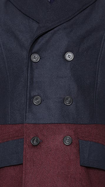 Native Youth Contrast Pea Coat