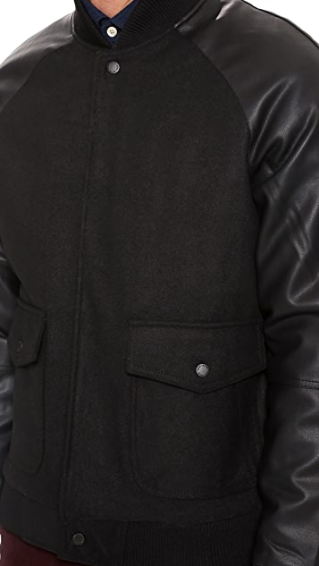 Native Youth Contrast Sleeve Bomber Jacket