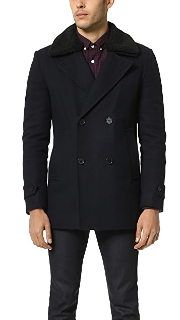 Native Youth Sherpa Collar Pea Coat