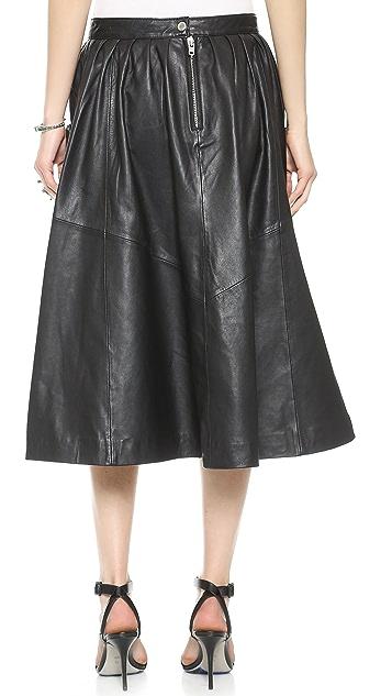 Oak Harper Leather Skirt