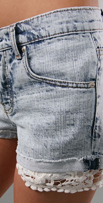Of Two Minds Denim Shorts with Lace Trim