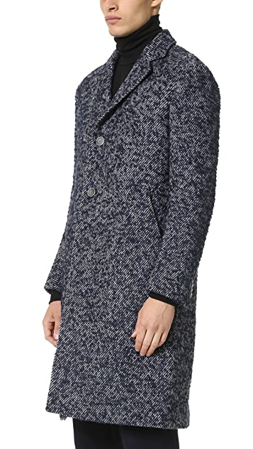 Officine Generale Soft Jack Textured English Wool Overcoat