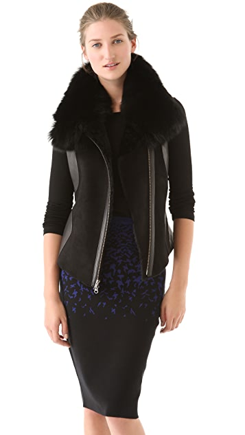 Ohne Titel Shearling & Leather Vest with Fox Fur Trim