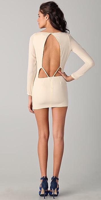 Olcay Gulsen Long Sleeve Open Back Dress