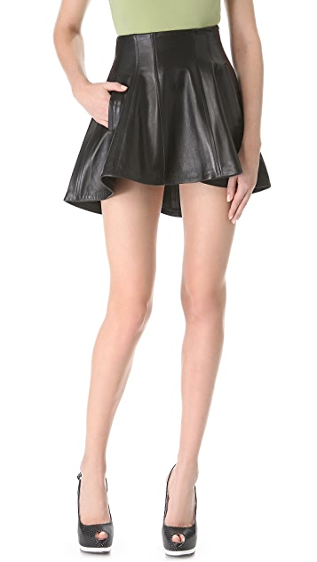 Olcay Gulsen Leather Structured Skirt