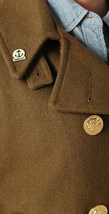 ONE by Gerald & Stewart by Fidelity Short Pea Coat with Brass Buttons