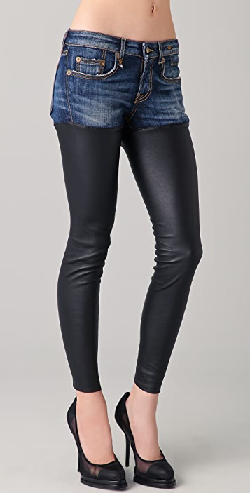 ONE by R13 Skinny Chap Leather Jeans