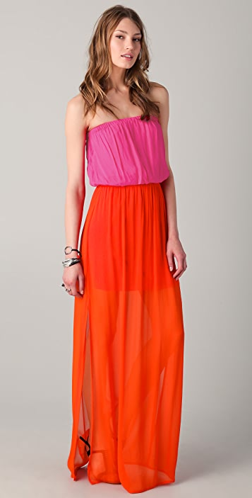 ONE by Chelsea Flower Colorblock Strapless Maxi Dress