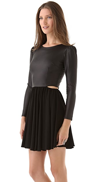 ONE by Donna Mizani Cutout Skate Dress with Puff Sleeves