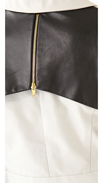 ONE by Ina Soltani Trench Coat with Leather Sleeves