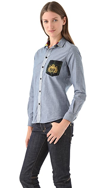 ONE by Jachs Button Down Blouse with Detailed Pocket