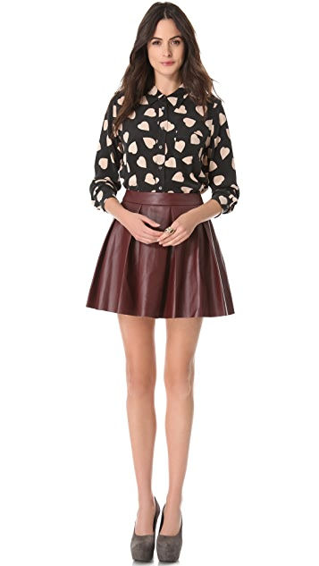 ONE by Boundary Vegan Imitation Leather Skirt