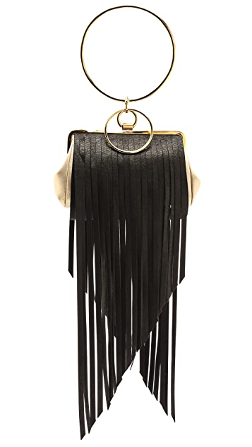 ONE by Alcantara Double Ring Fringe Evening Bag