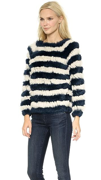 ONE by Nightwalker Bunker Fur Striped Sweater
