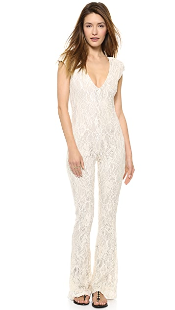 ONE by Made for Pearl V Neck Lace Jumpsuit