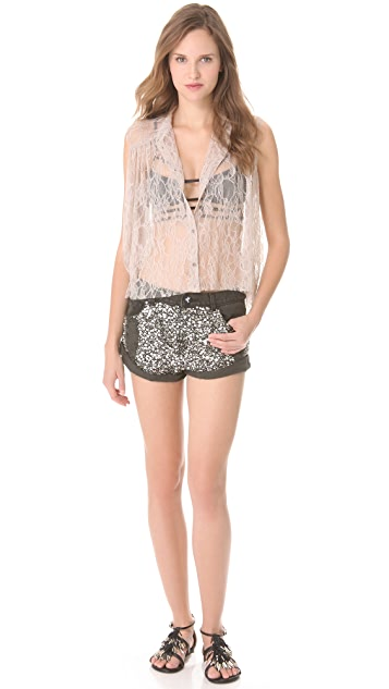 One Teaspoon Sequined Bandit Shorts