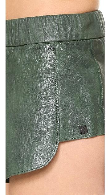 One Teaspoon Daddycool Leather Shorts