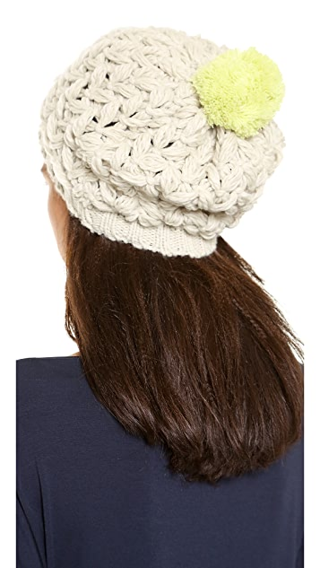 1717 Olive Open Weave Slouch Beanie