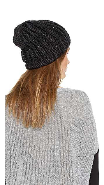 1717 Olive Tall Beanie with Beads