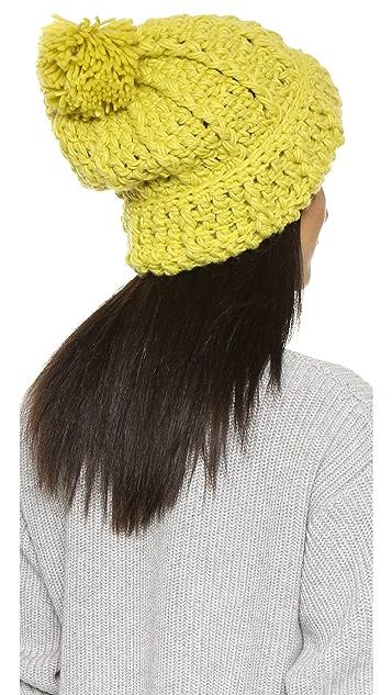 1717 Olive Cuffed Pom Beanie Hat