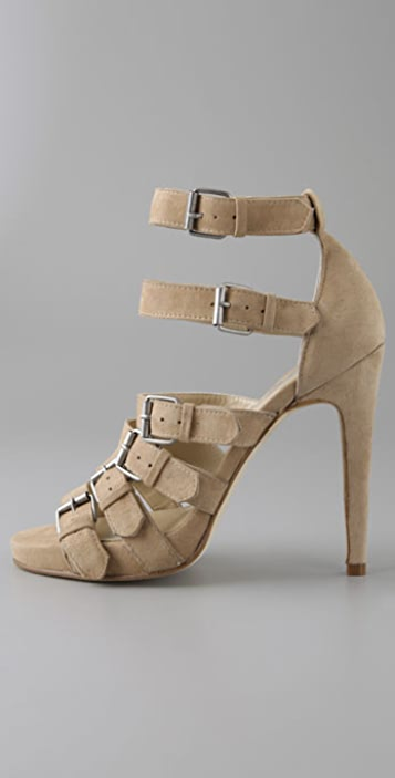 Opening Ceremony Six Buckle Suede Sandals