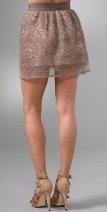 Opening Ceremony Full Rose Mesh Miniskirt