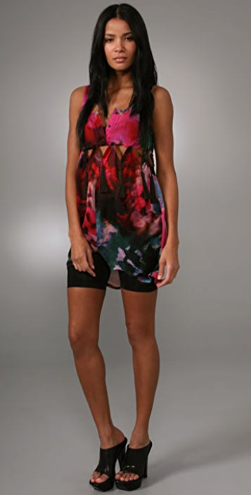 Opening Ceremony Button Off Floral Tunic