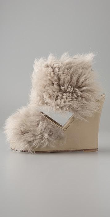 Opening Ceremony Fur Wedge Sandal Booties
