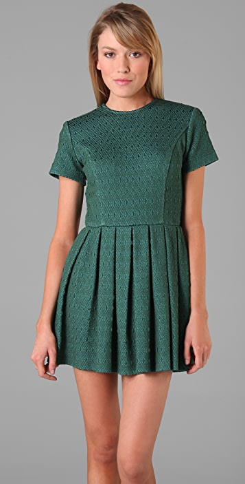 Opening Ceremony Short Sleeve Pleated Dress