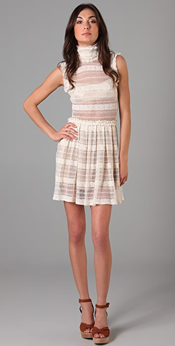 Opening Ceremony High Collar Pleated Dress