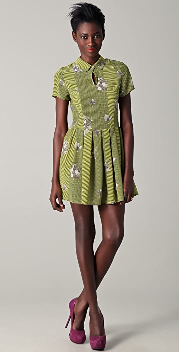 Opening Ceremony Short Sleeve Pleated Floral Dress