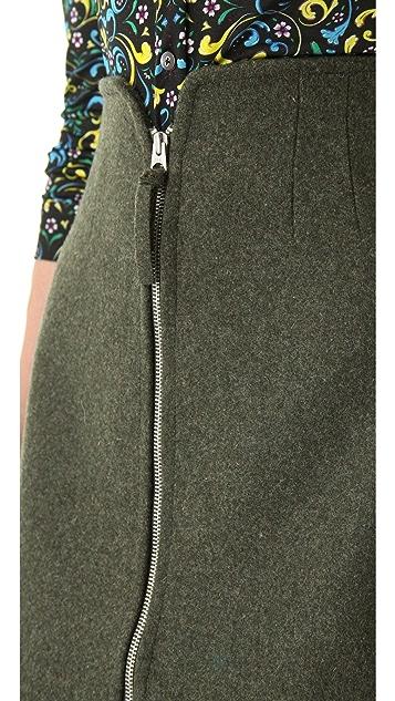 Opening Ceremony Zip Front Wool Skirt