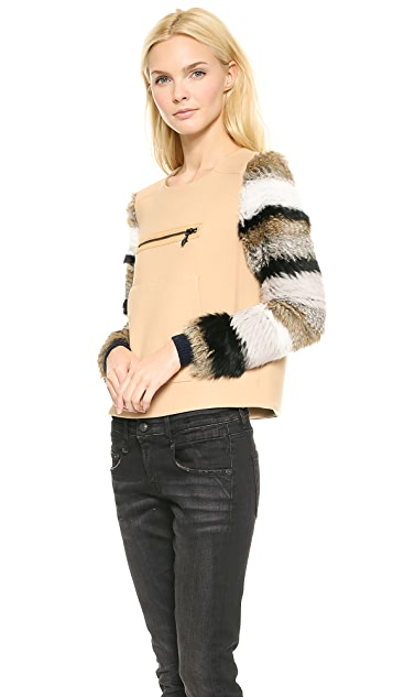 Opening Ceremony Keaton Fur Sleeve Pullover