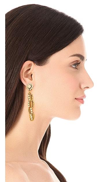 Oscar de la Renta Crystal Link Drop Clip On Earrings