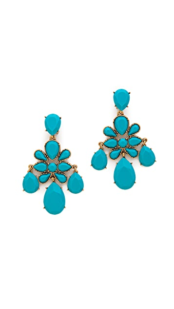 Oscar de la Renta Faceted Chandelier Clip On Earrings