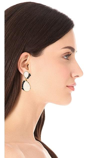 Oscar de la Renta Teardrop Stone Clip On Earrings