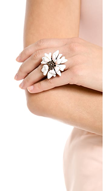 Oscar de la Renta Enamel Painted Carnation Ring