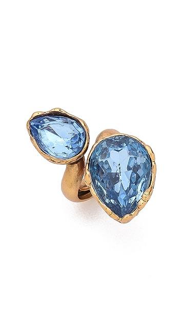 Oscar de la Renta Large Two Crystal Ring