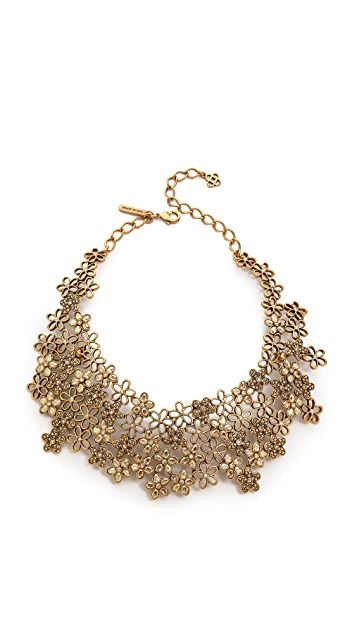 Oscar de la Renta Russian Gold Tone Crystal Flower Necklace