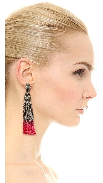 Oscar de la Renta Ombre Tassel Clip On Earrings