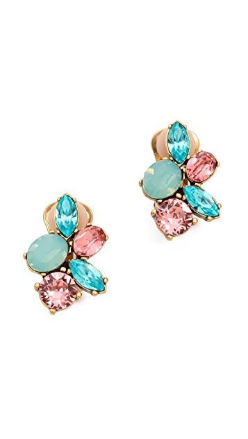 Oscar de la Renta Crystal Clip On Earrings