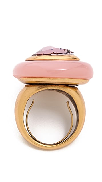 Oscar de la Renta Crystal and Resin Ring