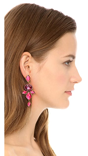 Oscar de la Renta Chandelier Clip On Earrings