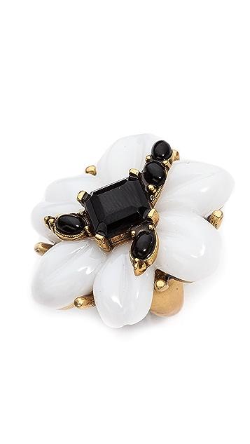 Oscar de la Renta Resin Flower & Cabochon Ring