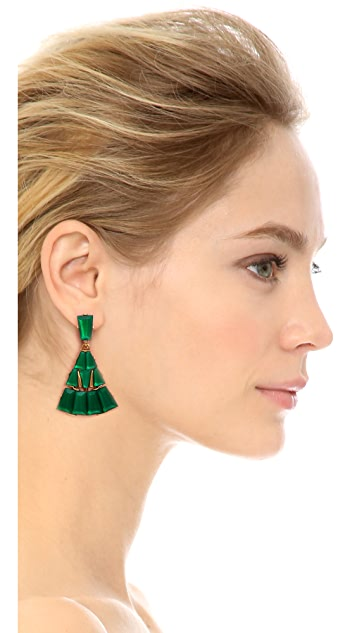 Oscar de la Renta Baguette Pave Clip On Earrings