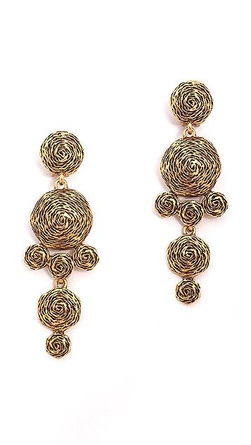 Oscar de la Renta Swirl Drop Clip On Earrings