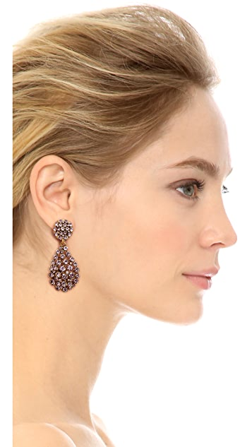 Oscar de la Renta Teardrop Clip On Earrings